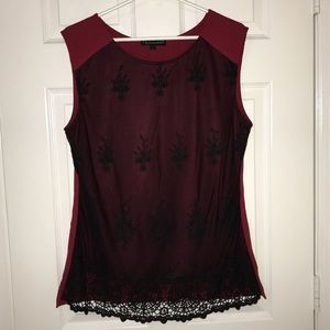 Burgundy and black lace top.